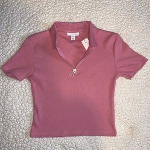 Topshop collared pink shirt